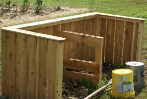 Our original two bin system - made from recycled pallets.  We produced a lot of garden-helping compost in it!