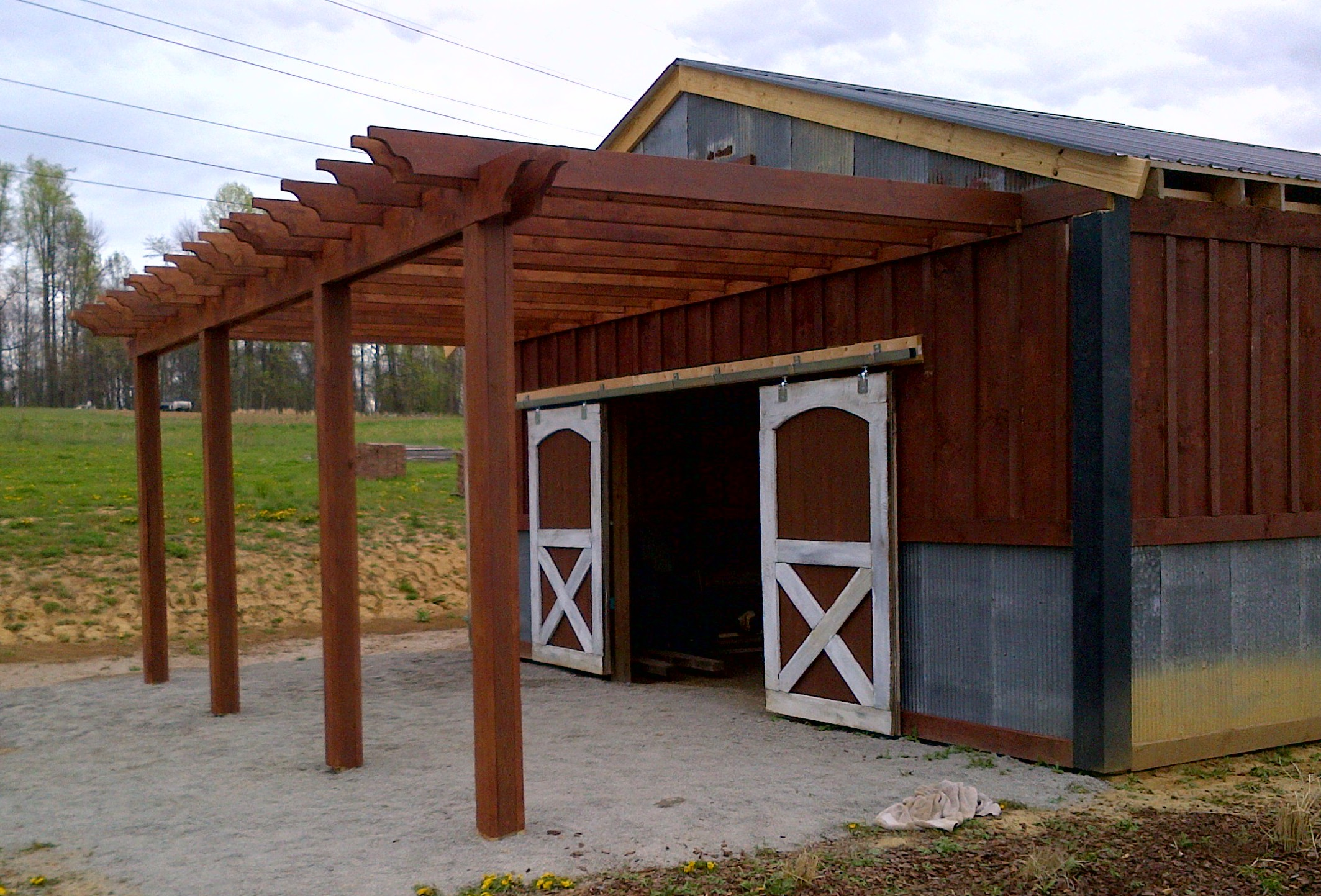 farm update the barn pergola kitchen project underway old world garden farms. Black Bedroom Furniture Sets. Home Design Ideas