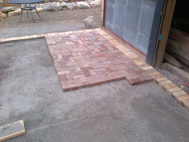 Summer 2012 - using reclaimed brick to build the barn pergola patio