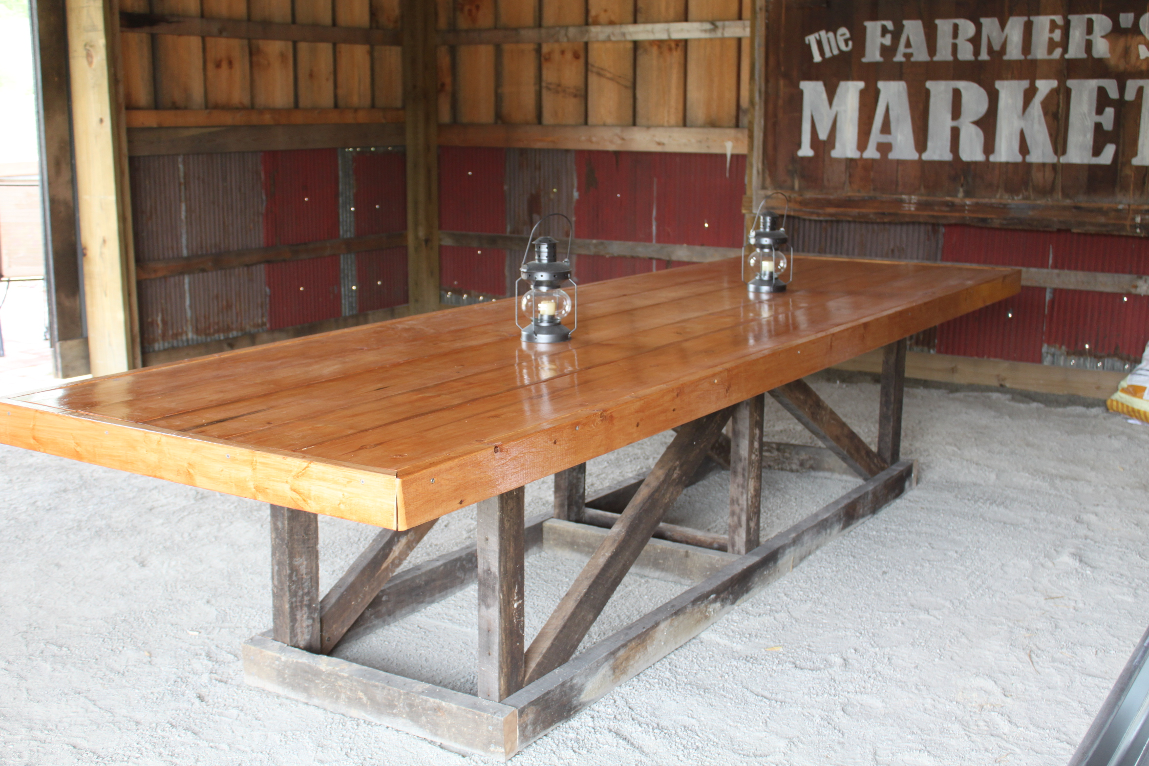 The recycled barn trestle table seating for 14 old for Building a farmhouse