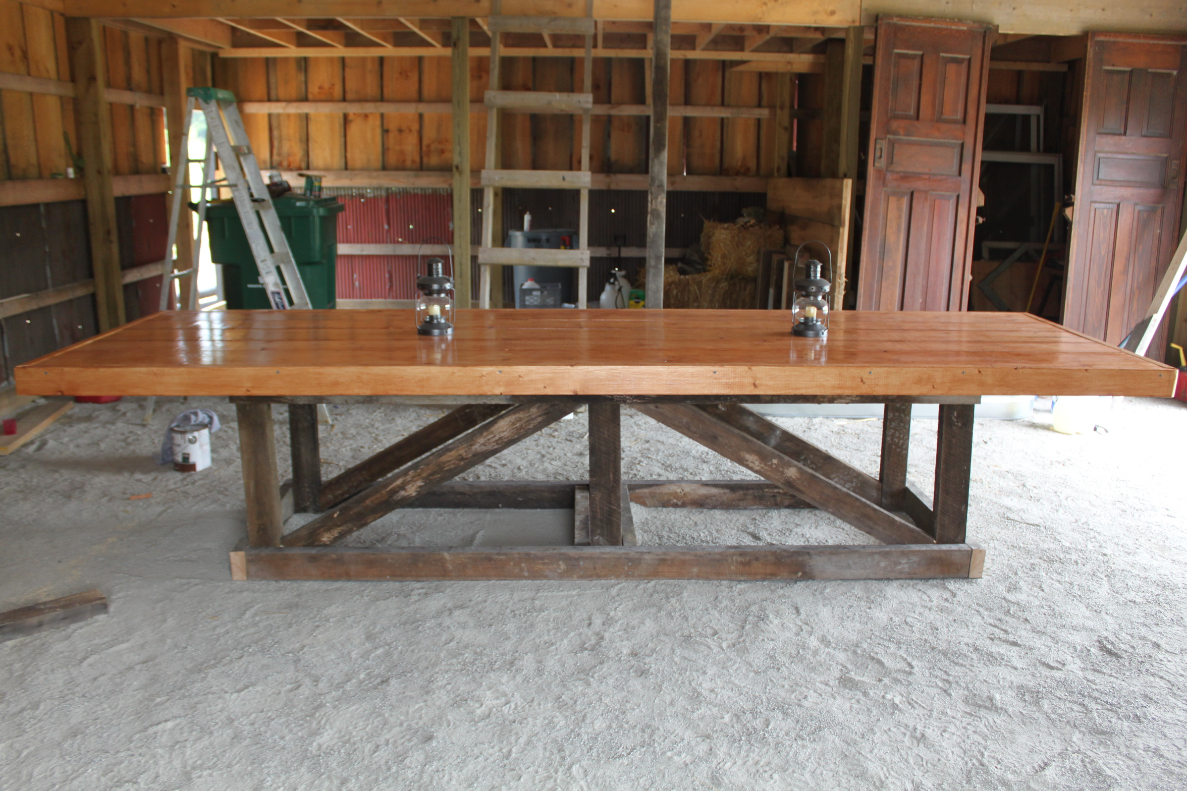 The Recycled Barn Trestle Table Seating for 14 Old  : barn trestle table from oldworldgardenfarms.com size 2352 x 1568 jpeg 1752kB