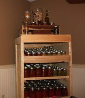 Our canning cabinet filled from the garden