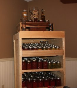 Our canning pantry cabinet is made from untreated pallets and shipping crates.