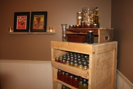 Our Canning Cabinet made from pallets and shipping crates