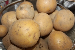 We use our own Yukon Gold potatoes and leeks from our garden.