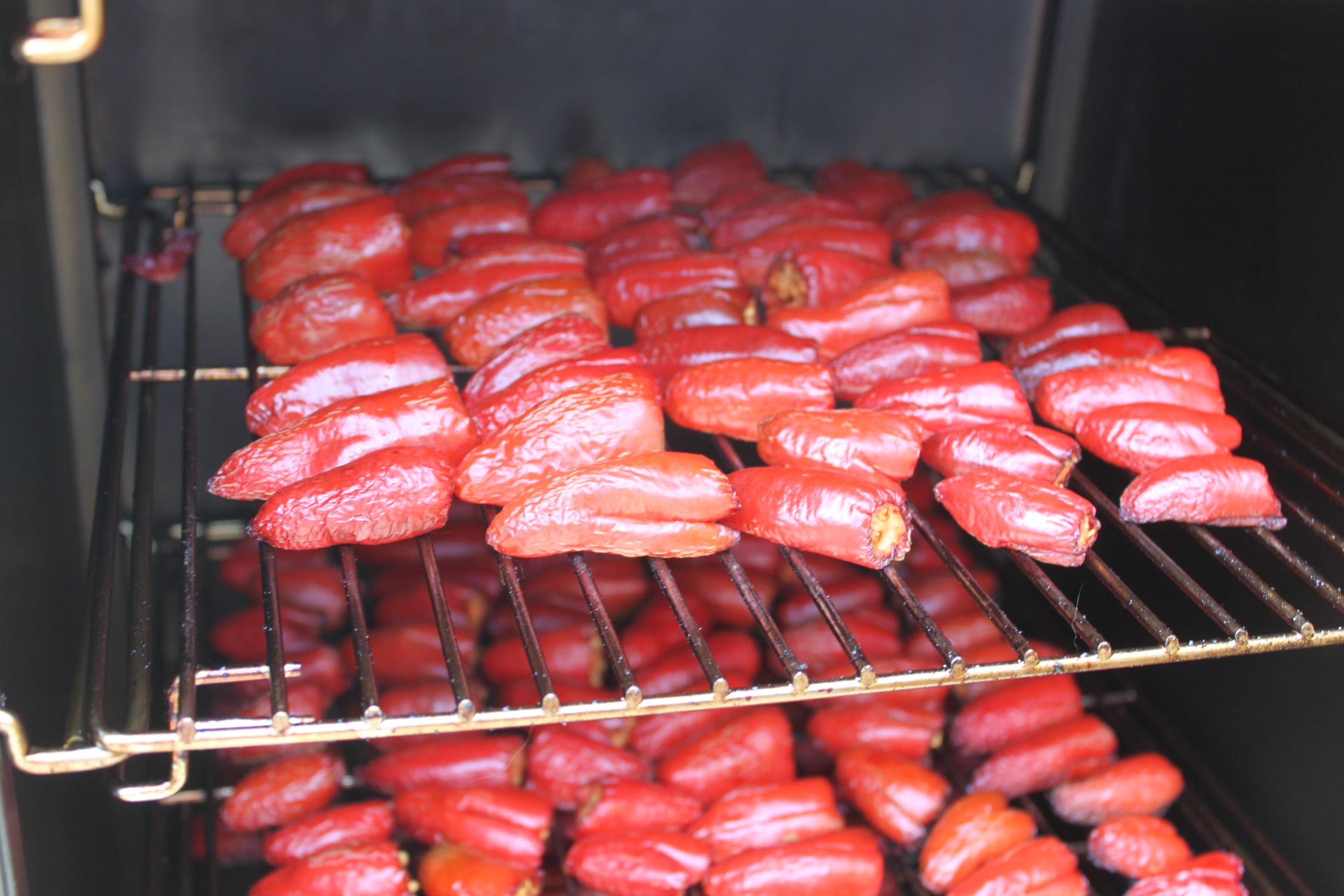 Jalapenos Cooking In Smoker