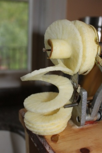 Freshly peeled apples being prepared for making fresh apple butter