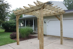 The pergola in the driveway - how it all started.