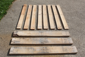 A pallet like the one above can be quickly disassembled with a reciprocating saw.