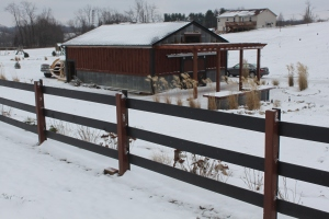 The barn looks a little colder with snow all around