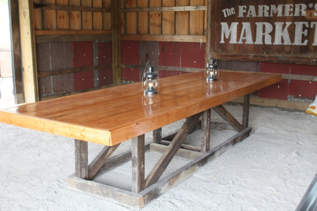 Late summer - 2012 In anticipation of our first barn party - we built the barn table from left over barn wood