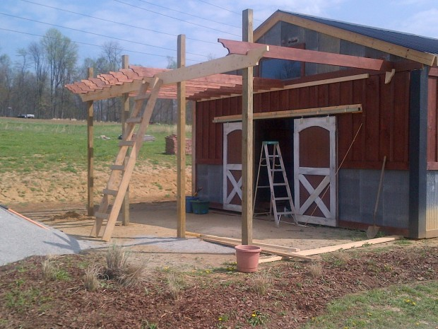 Spring 2012 - The barn pergola project begins