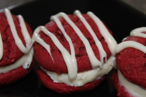 Red Velvet Whoopie Pies with icing drizzled over the top - Irresistible!!!!