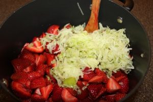 Strawberries, Grated Apple, Lemon and Honey - 4 simple ingredients for All Natural Jam