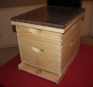 A completed bee hive assembled and ready for paint