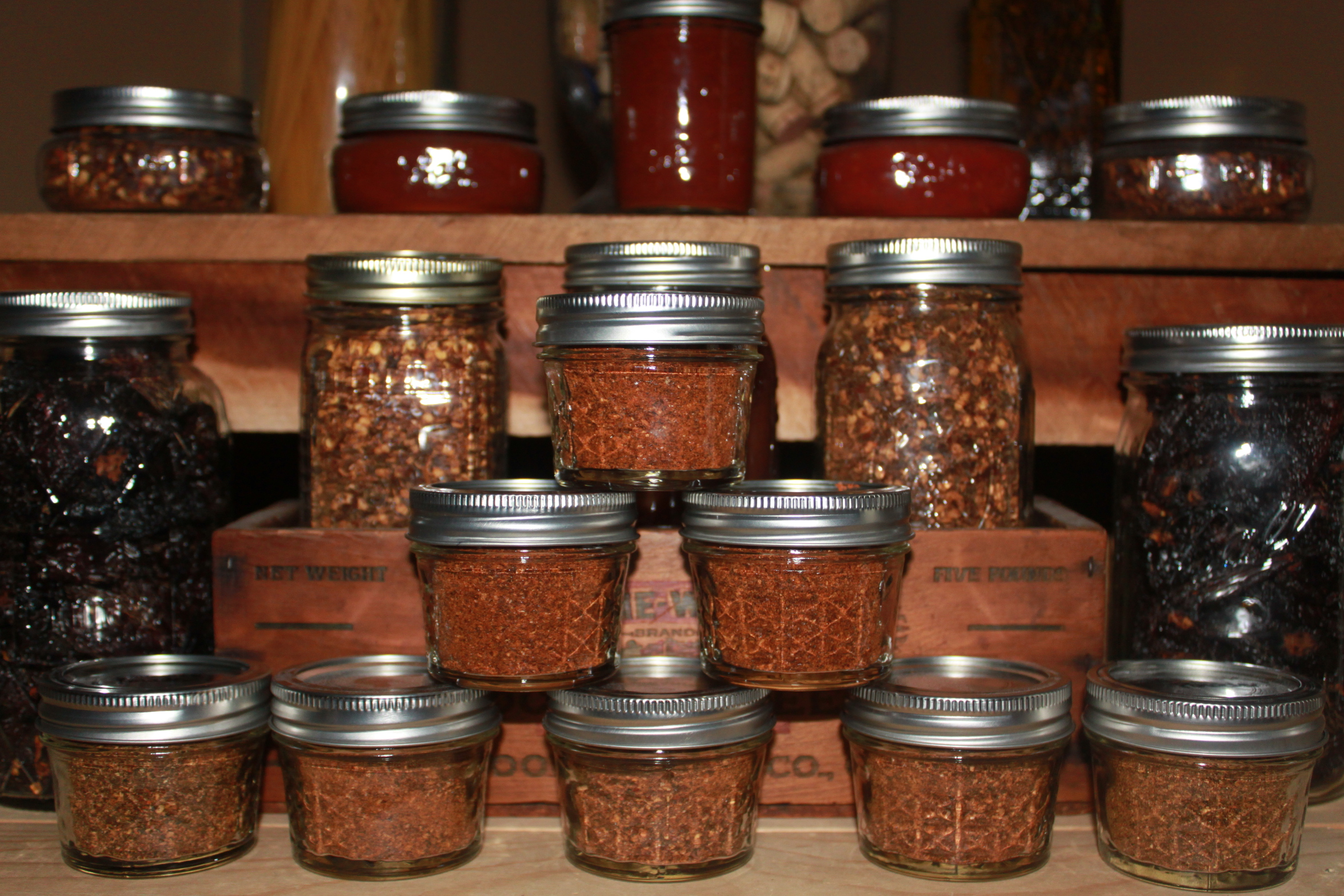 The heat is on making fresh homemade spices for chili for Chili flakes