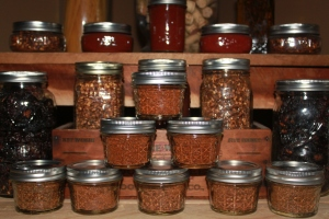 Hot pepper flakes and powder made from our peppers.