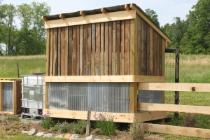 We used old barn boards to make the slats, and of course, more old metal siding to match the barn and coop.
