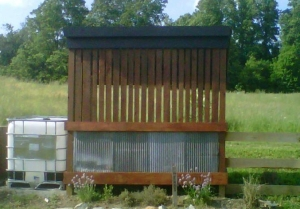 "Our ""new"" old corn crib structure...not used to hold corn, but leaves for use in our compost bin"