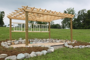 The completed hilliside pergola..all that is left is to give it a few coats of stain!