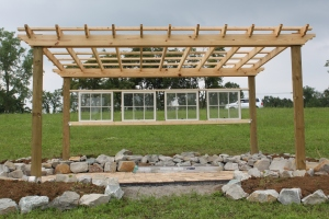 The new vineyard pergola -which will be the setting for our first outdoor dinner party this September
