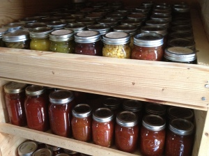 Our canning cabinet holds a years worth of food for us.