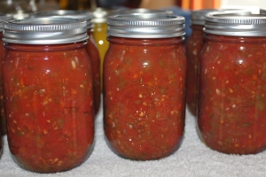 Freshly canned salsa made on Saturday