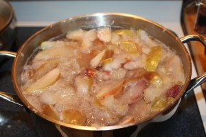 Home made apple juice being made to use in the recipe.  Store bought is fine too!