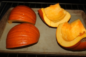 Roast pumpkin quarters face down for easy peeling of the rind
