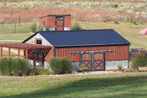 "Our completed barn with attached pergola...another ""goal list"" target from 2012."