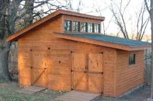 "This is our design ""motivator"" A shed project completed by a blogger from Minnesota. We are adapting the plans to be a comfy get-away cabin."