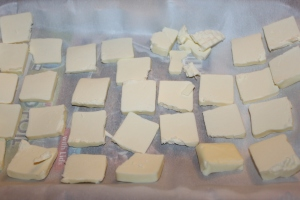 Slice 3/4 cup of butter into slices and freeze before adding it to the dry ingredients.