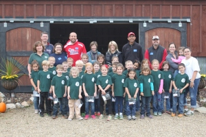 The 1st grade class of St Brendans visited the farm this past week to learn all about chickens, honeybees and gardening