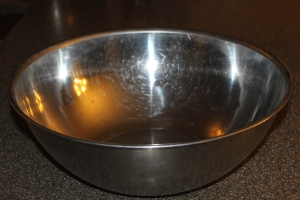The large stainless bowl that got brought out once a year to make the Stuffing now being used at our house.