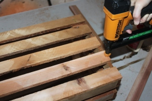 We make the crates out of strips of wood cut from scraps of wood from past DIY project l