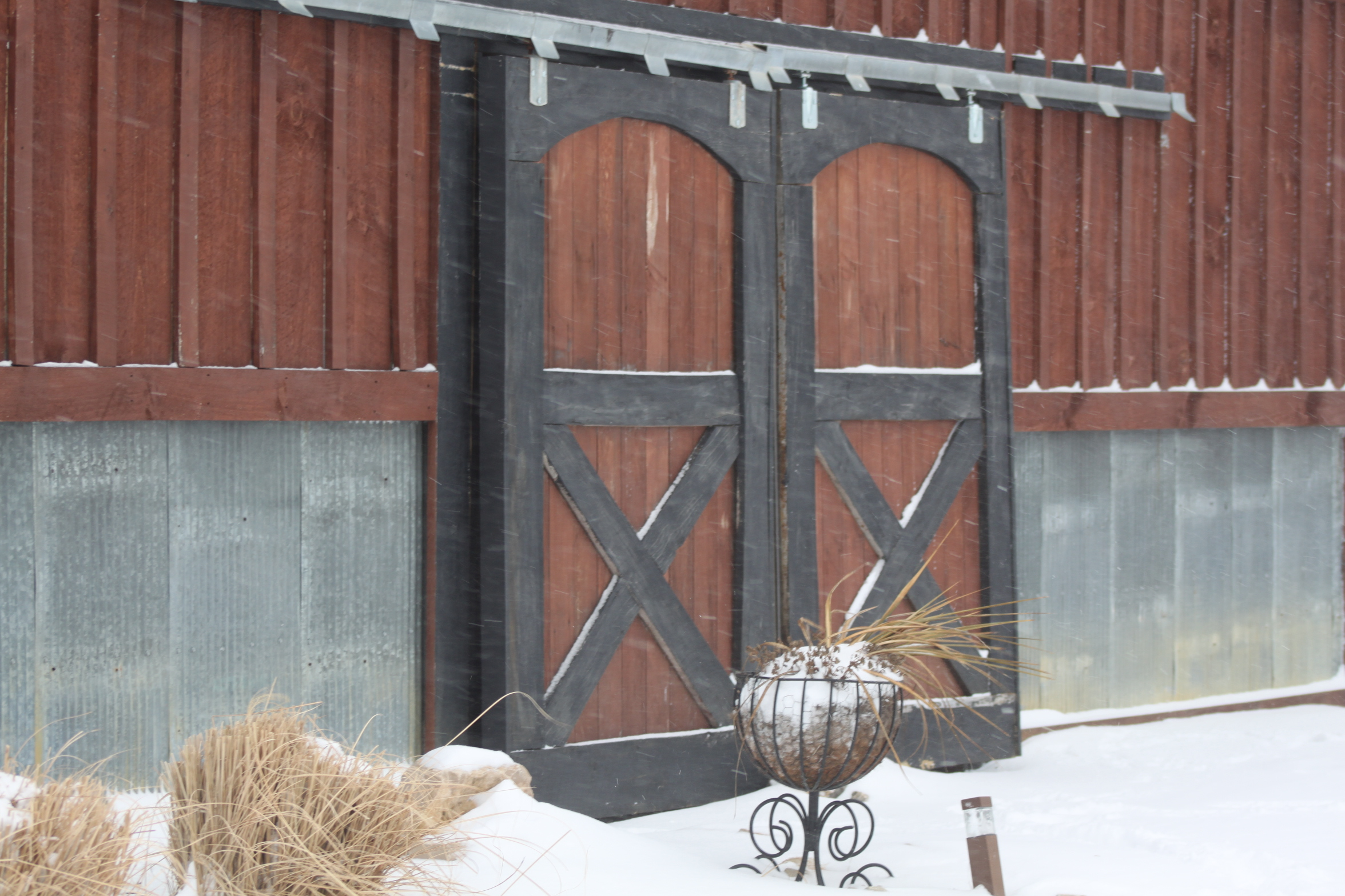 Winter photos from the farm the snow and cold won 39 t go for Farm sliding door