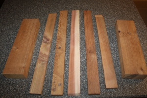To create slats - simply rip down a flat 2x4 on the table saw, or cut strips from pallet wood