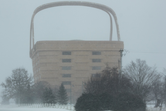 No - this is not one of our homemade wood baskets...This is actually the Longaberger Basket Company Headquarter's building  covered in a blanket of snow.  The building is about 5 miles from the farm.