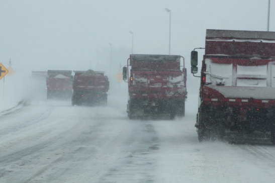 You know it's bad out when the snow plows begin to gang up on the highway leading to the farm.  It was like our own personal escort.