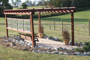 Recycled windows and brick were used when building our vineyard pergola