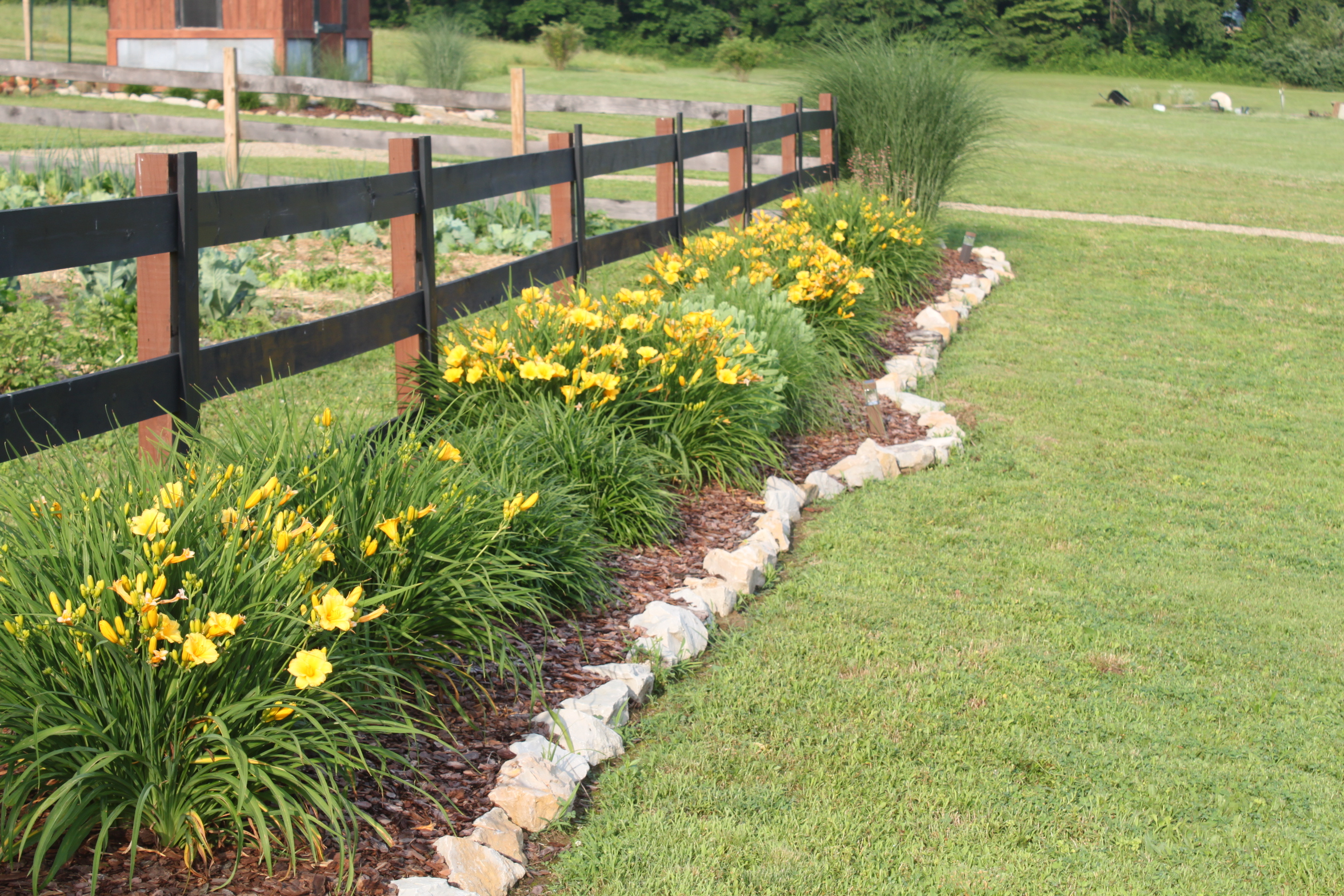 The post and board fencing currently around the garden ... on Backyard Landscaping Along Fence id=79627