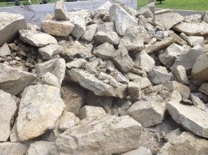 A load of rock waiting in the truck bed to be turned into our firepit!