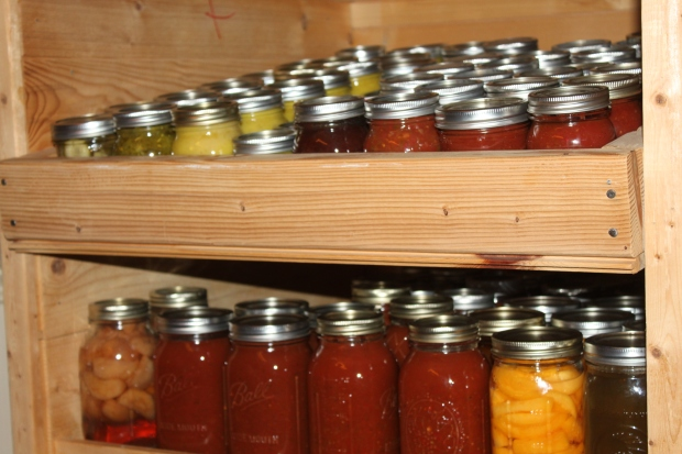 A welcome sight! The canning cabinet is once again filled for the coming year