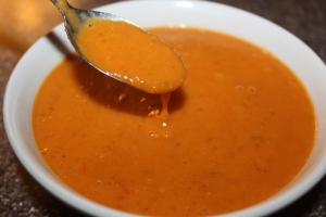 Creamy tomato soup made from Valencia tomatoes