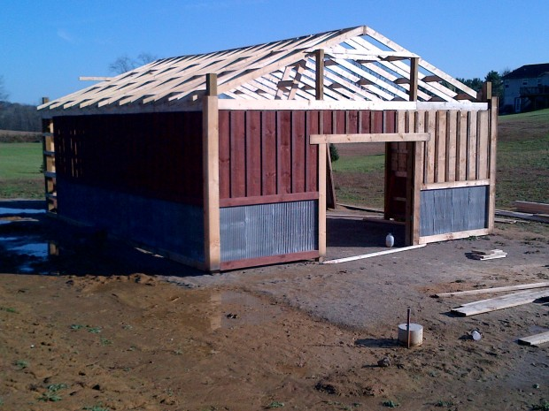 Early December 2011 - With a lot of work - the roof framing was finally complete!
