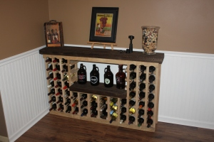 The wine rack back in place in the finished room!
