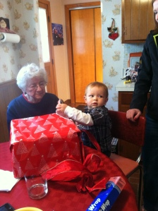 Grandma enjoying time with one of her many great grandchildren