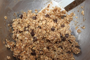 Fold in the chocolate chips, nuts or dried fruit.