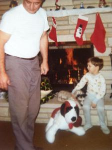 Early Christmas memories of my Dad - yes, I have on my favorite slippered pajamas!