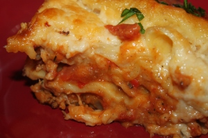 Layers of our Superbowl Sunday Lasagna